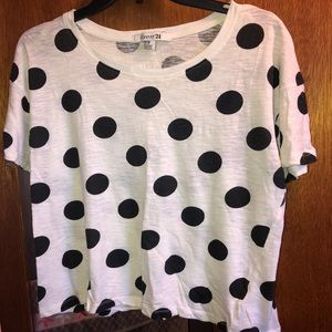 FOREVER 21 black polka dot crop top